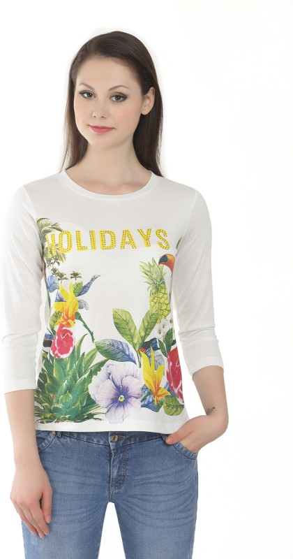 Miss Grace Casual 3/4 Sleeve Printed Women Yellow Top