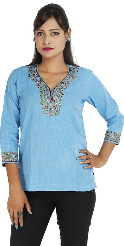 Ra Studio Casual 3/4 Sleeve Embroidered Women Blue Top
