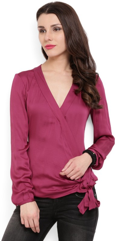 MANGO Casual Full Sleeve Solid Women's Purple Top