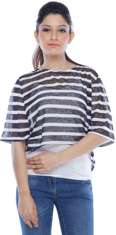3NH Casual Half Sleeve Striped Women Black Top