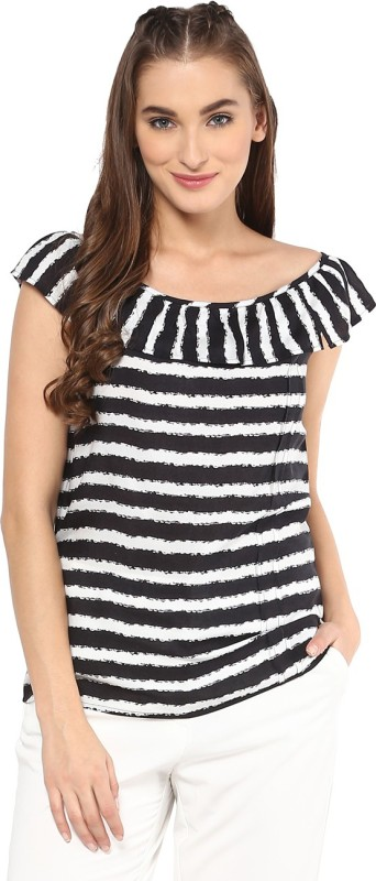 Vvine Casual Sleeveless Striped Women's Black Top