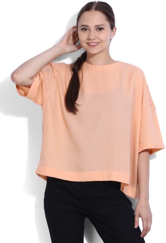 Van Heusen Casual Short Sleeve Solid Womens Pink Top