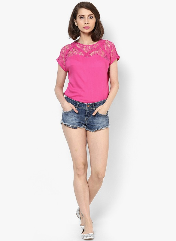 Vero Moda Casual Short Sleeve Solid Women's Pink Top