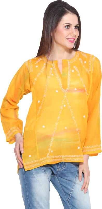 Colors Party Full Sleeve Solid Women Yellow Top