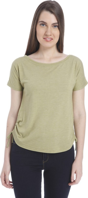 Vero Moda Casual Short Sleeve Solid Women Brown Top