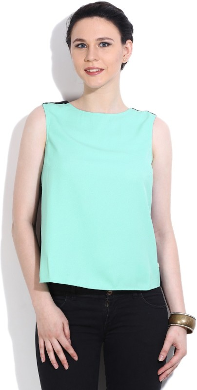 United Colors of Benetton Casual Sleeveless Solid Womens Black, Green Top