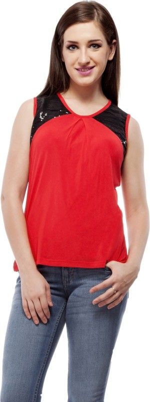 Peptrends Casual Sleeveless Solid Women's Red Top