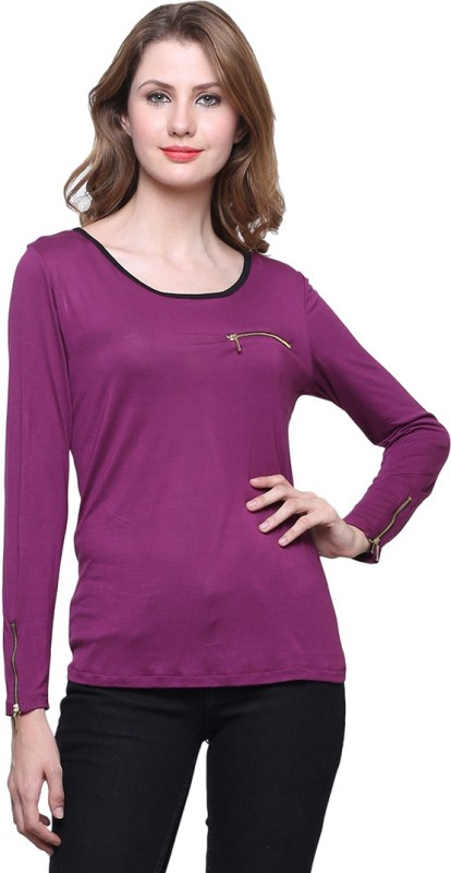 Trendsnu Casual Full Sleeve Solid Women Purple Top