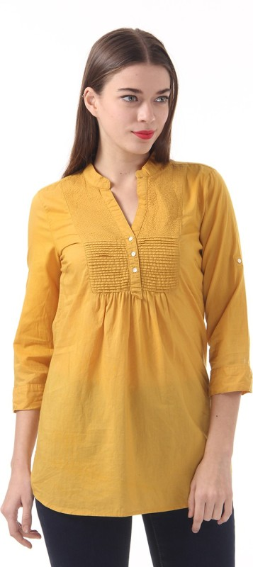 Vero Moda Casual 3/4 Sleeve Solid Women Yellow Top