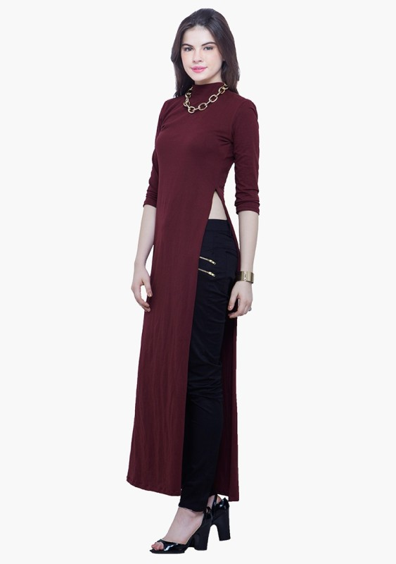 FabAlley Casual Full Sleeve Solid Women's Maroon Top