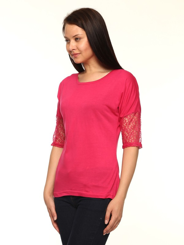 Vvoguish Casual 3/4 Sleeve Solid Women Pink Top