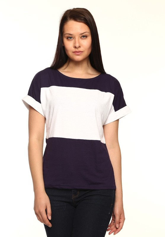 Vvoguish Casual Short Sleeve Solid Women White, Blue Top