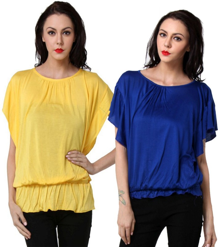 TeeMoods Casual Butterfly Sleeve Solid Women's Blue, Yellow Top