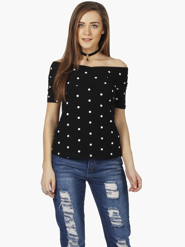 FabAlley Casual Short Sleeve Printed Women's Black Top