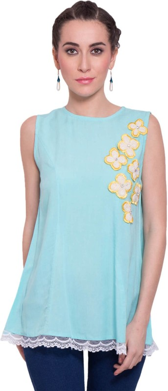 9teen Again Casual Sleeveless Embellished Women Blue Top
