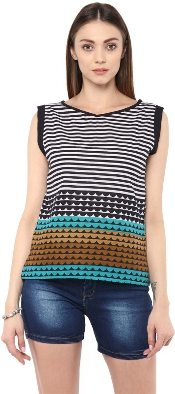 Jaipur Kurti Casual Sleeveless Striped Women Multicolor Top