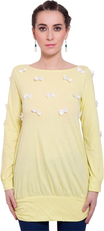9teen Again Casual Full Sleeve Solid Women Yellow Top
