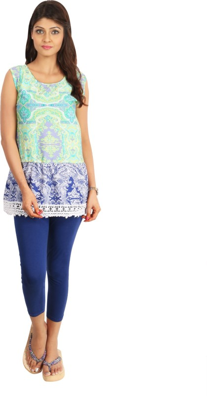 Fabinbox Casual Sleeveless Printed Women Green, Blue Top