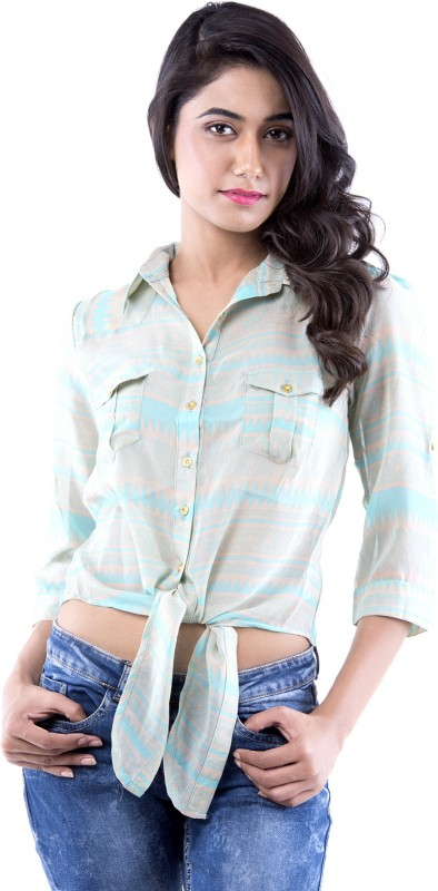 Amadore Casual 3/4 Sleeve Printed Women Light Blue Top