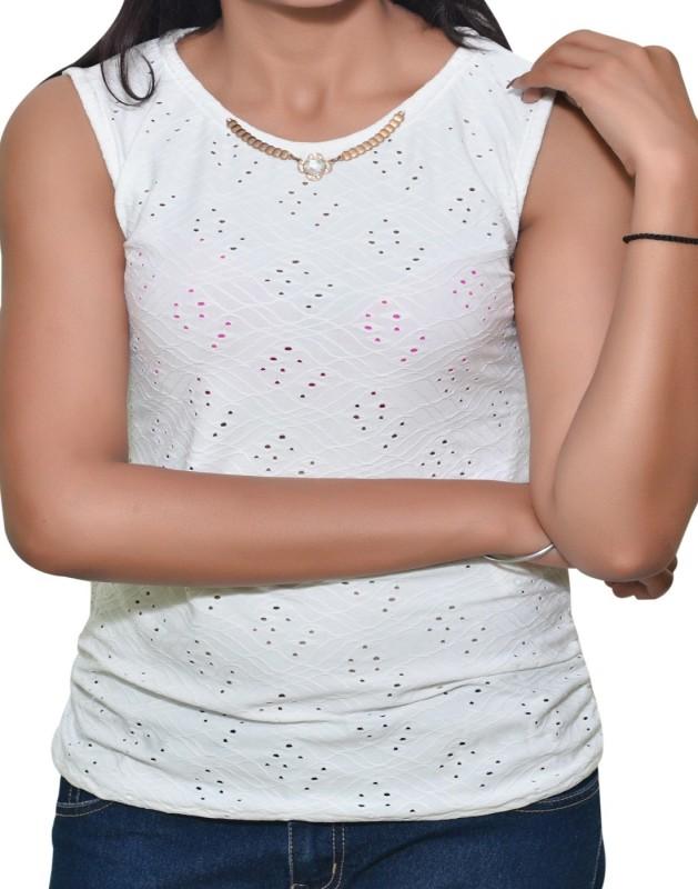 Mitra Creations Party Sleeveless Self Design Women White Top