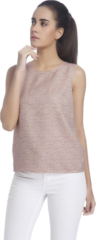 Vero Moda Casual Sleeveless Solid Women's Beige Top