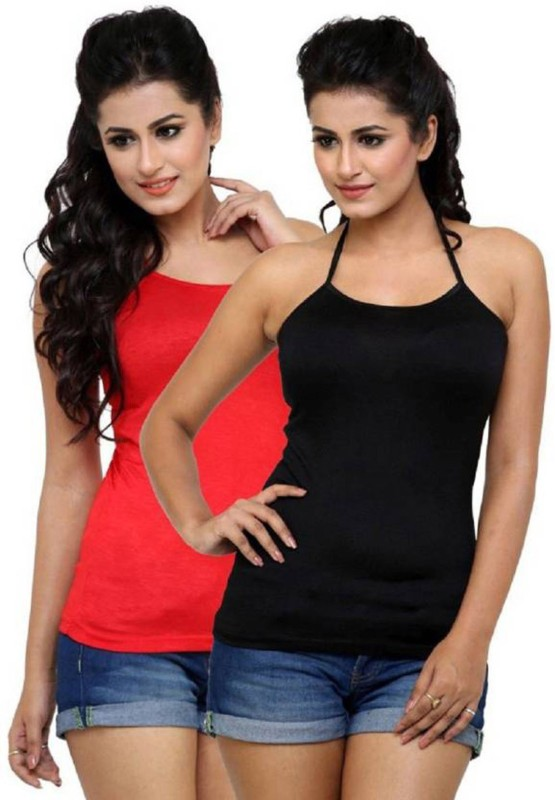 Falguni Fashion Casual Sleeveless Solid Women Red, Black Top