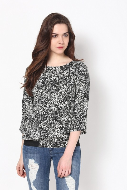 Harpa Casual 3/4 Sleeve Printed Women Black, White Top