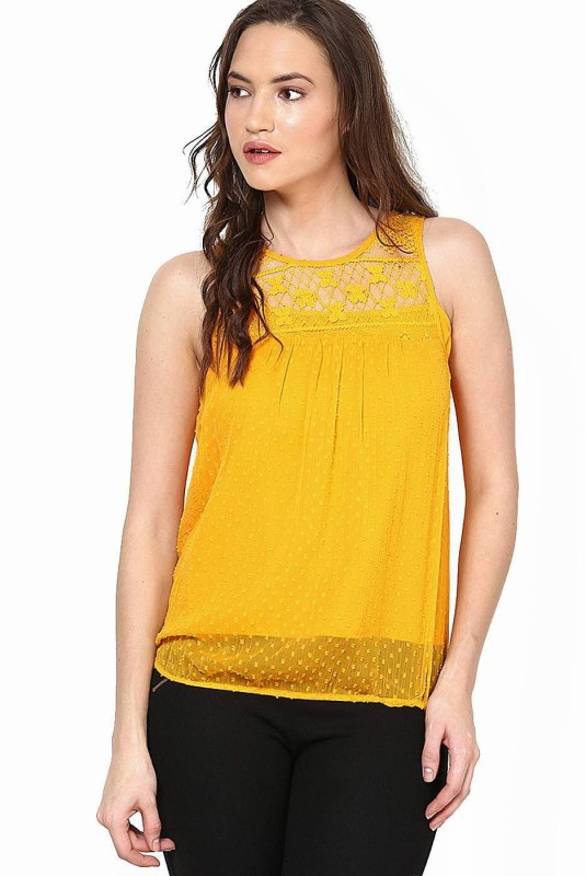 Vero Moda Casual Sleeveless Solid Women Orange Top