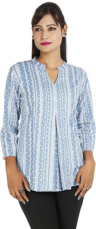 Ra Studio Casual 3/4 Sleeve Printed Women Blue Top