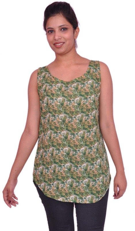 Jevaraz Casual Sleeveless Printed Women Green, Yellow Top