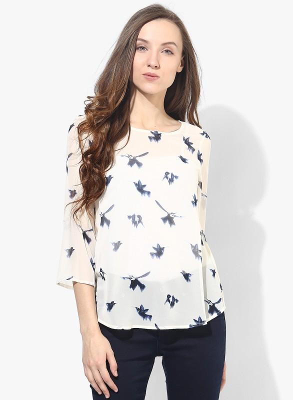Vero Moda Casual 3/4 Sleeve Animal Print Women White Top