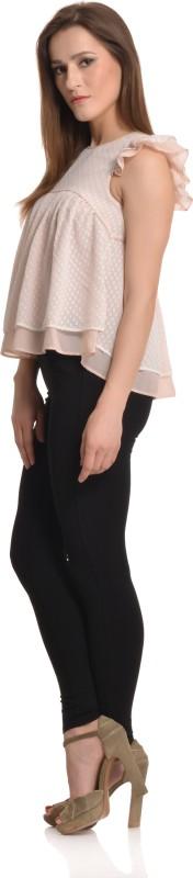 ETRU Casual Ruffled Sleeve Printed Women White, Pink Top