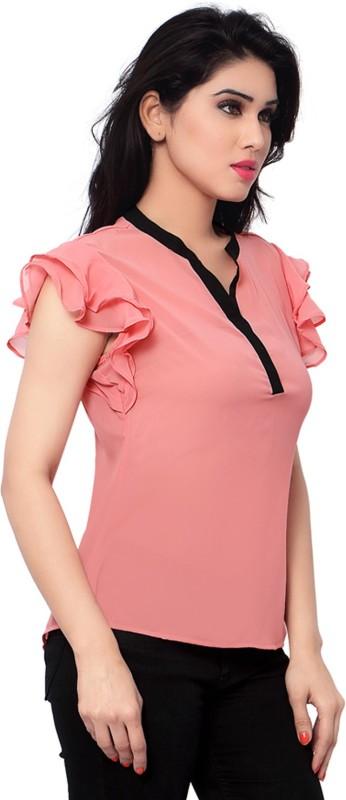 Admyrin Casual Short Sleeve Solid Women's Pink Top