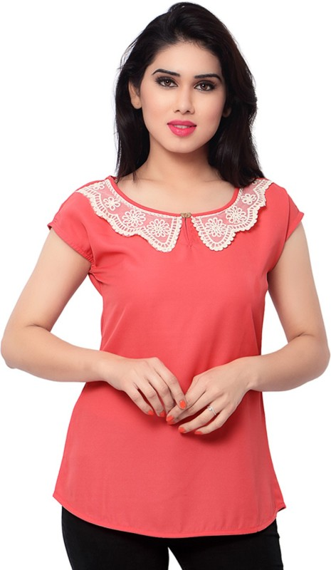 Admyrin Casual Short Sleeve Solid Women's Red Top
