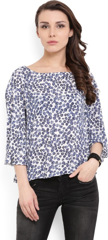 MANGO Casual Short Sleeve Printed Women's Blue Top
