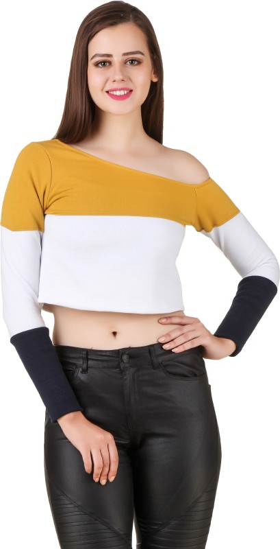 Texco Casual Full Sleeve Solid Women Yellow, White, Blue Top