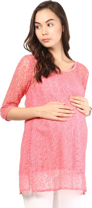 Mine4Nine Casual 3/4 Sleeve Embroidered Women Pink Top