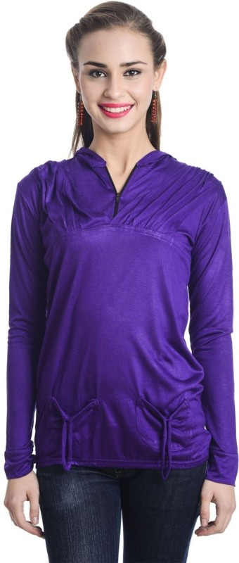 TeeMoods Casual Full Sleeve Solid Women Purple Top