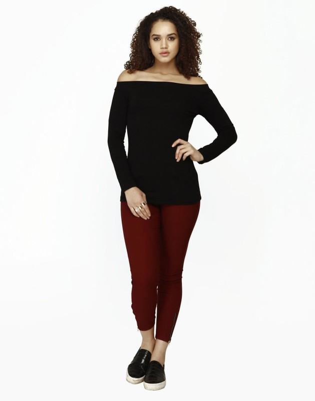 FabAlley Casual Full Sleeve Solid Women's Black Top
