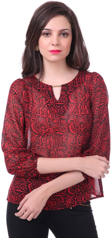 Sassafras Casual 3/4 Sleeve Printed Women Red, Black Top