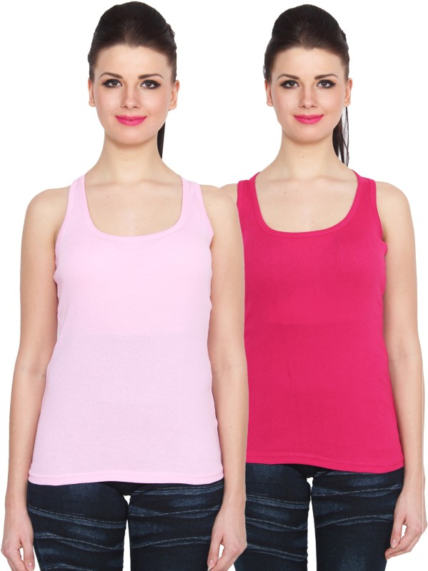NumBrave Sports Sleeveless Solid Women Pink Top