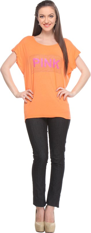 Wearsense Casual Short Sleeve Self Design Women Orange Top