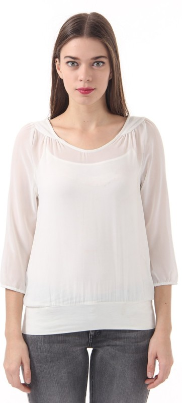 Vero Moda Casual 3/4 Sleeve Solid Women White Top