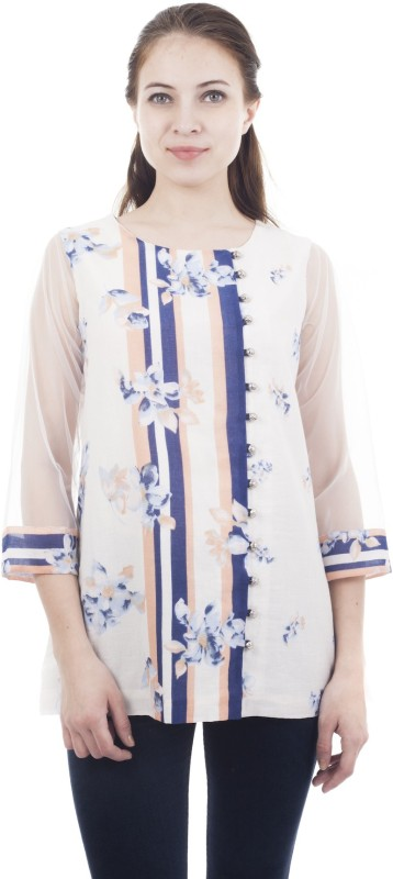 Forever 9teen Casual 3/4 Sleeve Floral Print Women White Top