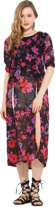 Trend Arrest Casual 3/4 Sleeve Floral Print Women Black Top
