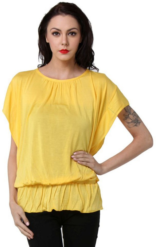 TeeMoods Casual Butterfly Sleeve, Short Sleeve Solid Women's Yellow Top
