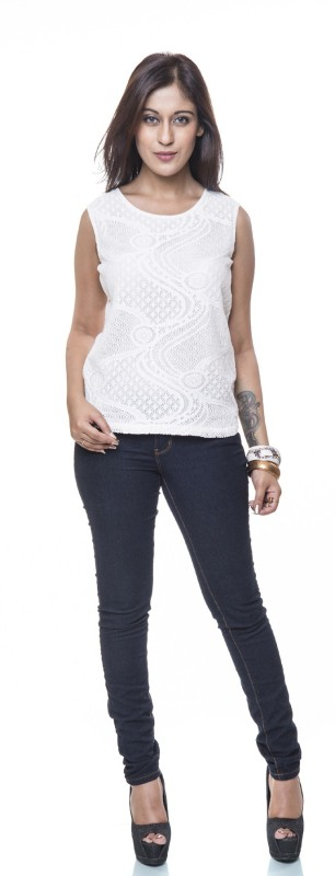 Colbrii Casual Sleeveless Self Design Women's White Top