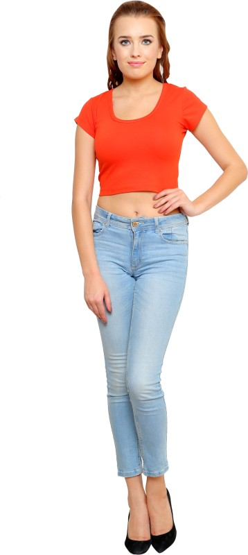Finesse Casual Short Sleeve Solid Women Orange Top