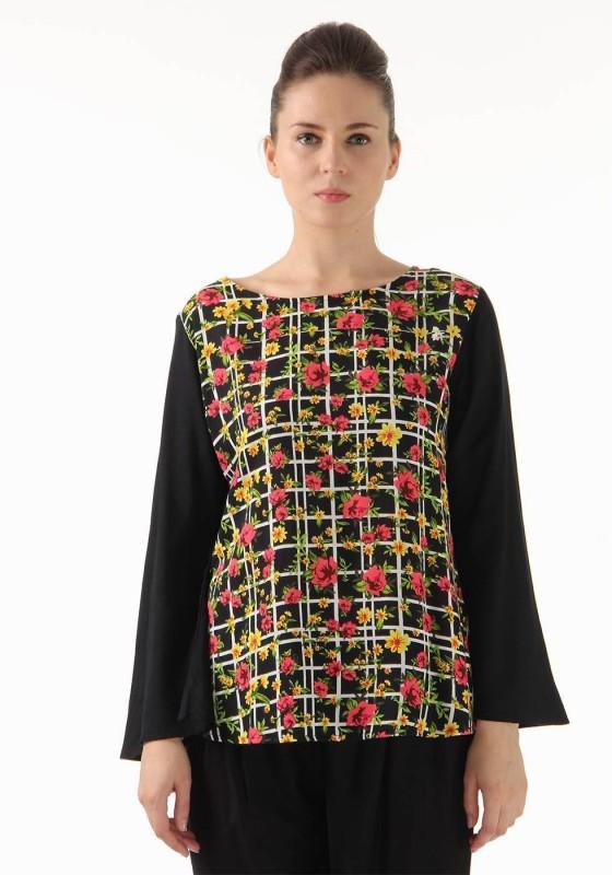 Monte Carlo Casual Short Sleeve Floral Print Womens Multicolor Top