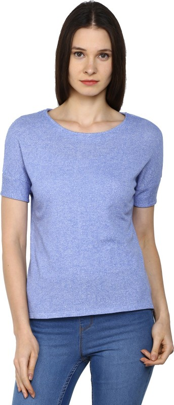 Arrow Casual Short Sleeve Solid Womens Blue Top